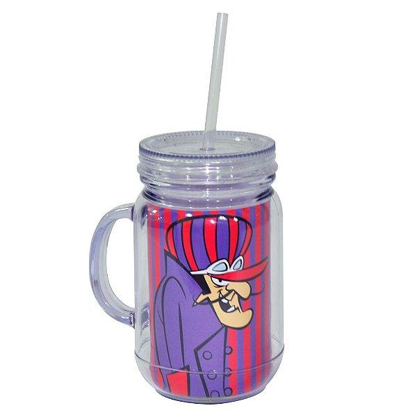 Copo de Acrílico tipo Mason Jars com Canudo Hanna Barbera Corrida Maluca Dick Vigarista - 550 ml