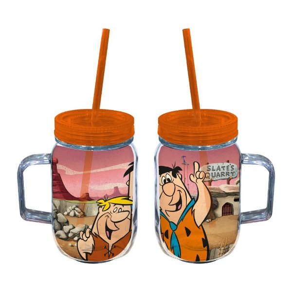 Copo de Acrílico tipo Mason Jars com Canudo Hanna Barbera Os Flintstones Fred e Barney - 550 ml