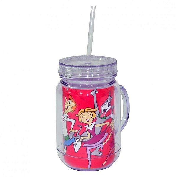 Copo de Acrílico tipo Mason Jars com Canudo Hanna Barbera Os Jetsons Família - 550 ml