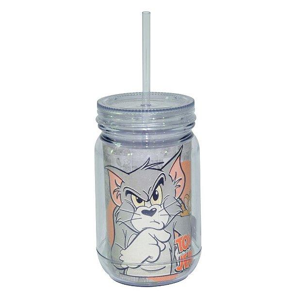 Copo de Acrílico tipo Mason Jars com Canudo Hanna Barbera Tom and Jerry Mad Cat - 550 ml
