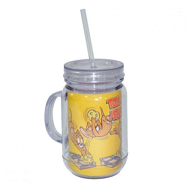 Copo de Acrílico tipo Mason Jars com Canudo Hanna Barbera Tom and Jerry Mousetrap - 550 ml