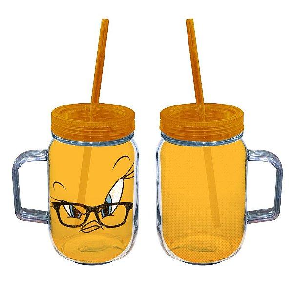 Copo de Acrílico tipo Mason Jars com Canudo Looney Tunes Piu-Piu - 550 ml
