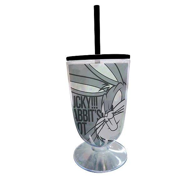 Copo / Taça de Acrílico com Canudo Looney Tunes Pernalonga Lucky!!! Rabbit's Foot! - 550 ml