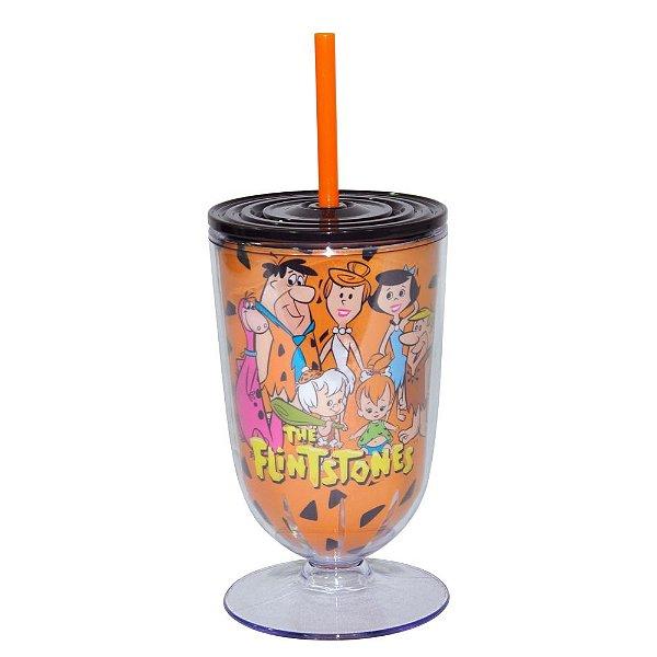 Copo / Taça de Acrílico com Canudo Hanna Barbera Os Flintstones Família - 550 ml