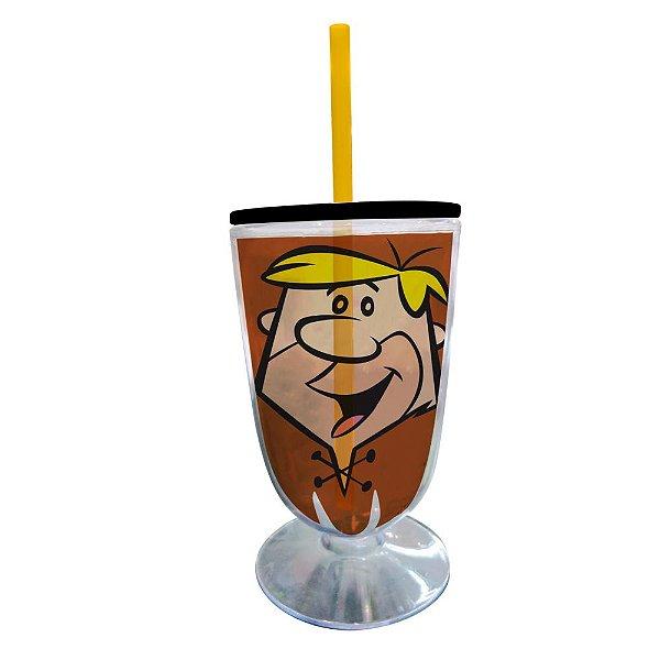 Copo / Taça de Acrílico com Canudo Hanna Barbera Os Flintstones Barney - 550 ml