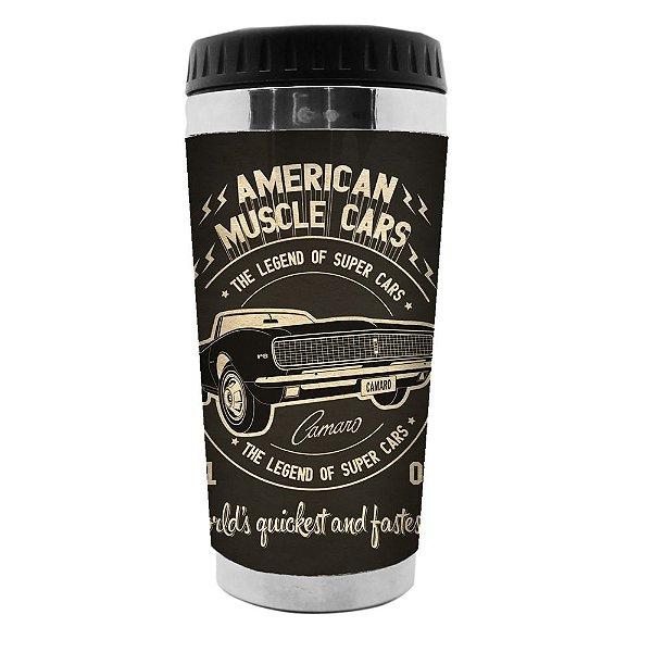 Copo Térmico de Plástico GM Vintage American Muscle Cars - 470 ml