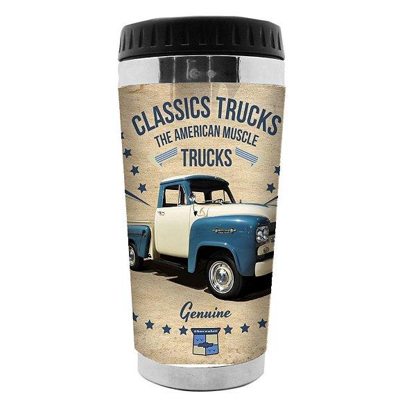 Copo Térmico de Plástico GM Vintage Classics Trucks - 470 ml
