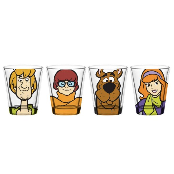 Conjunto de Copos de Vidro para Doses / Shots Hanna Barbera Scooby-Doo e sua Turma - 4 Peças