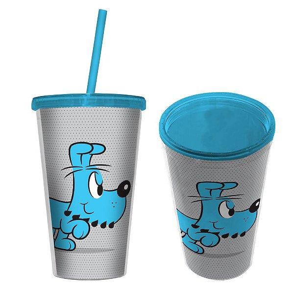 Copo de Plástico com Tampa e Canudo Turma da Mônica Bidu - 500 ml