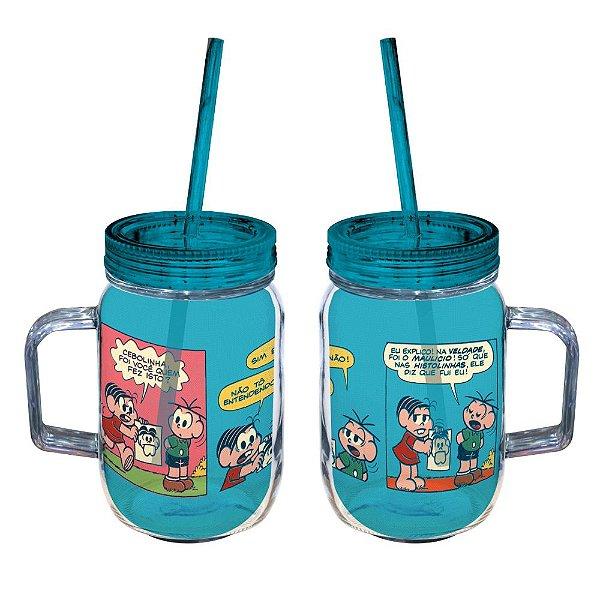 Copo de Acrílico tipo Mason Jars com Canudo Turma da Mônica Quadrinhos Coloridos - 550 ml