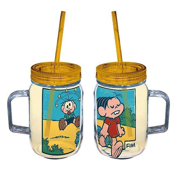 Copo de Acrílico tipo Mason Jars com Canudo Turma da Mônica Coelhada no Cebolinha - 550 ml