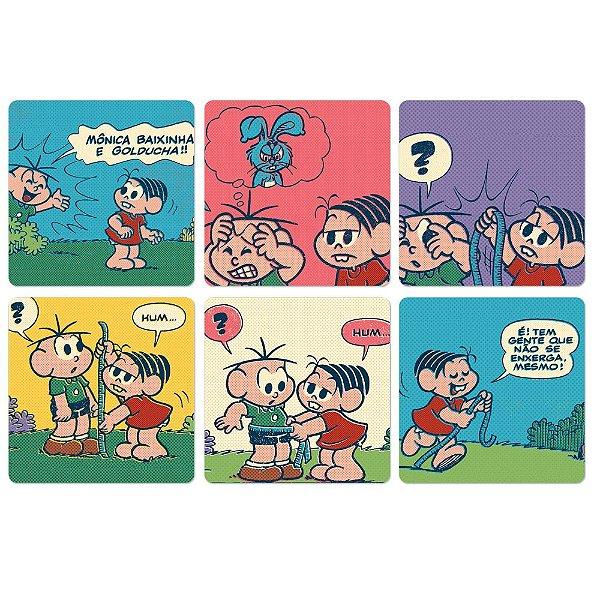 Conjunto de Porta Copos Turma da Mônica História em Quadrinhos Coloridos - 6 Peças