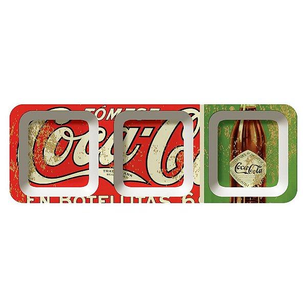 Petisqueira Retangular de Melamina Coca-Cola En Botellitas - 3 Divisórias