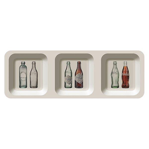 Petisqueira Retangular de Melamina Coca-Cola Bottles Evolution - 3 Divisórias