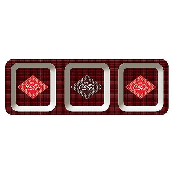 Petisqueira Retangular de Melamina Coca-Cola Delicious and Refreshing - 3 Divisórias