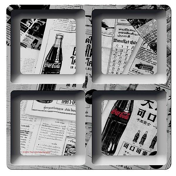 Petisqueira Quadrada de Melamina Coca-Cola Newspaper - 4 Divisórias