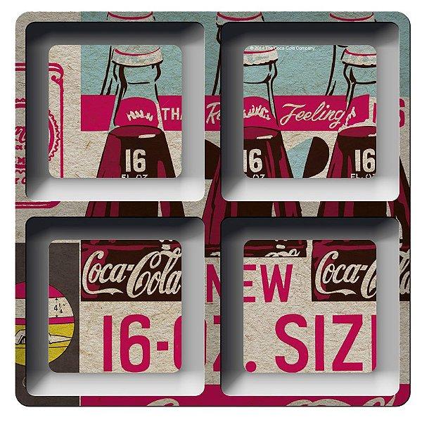 Petisqueira Quadrada de Melamina Coca-Cola Bottles - 4 Divisórias