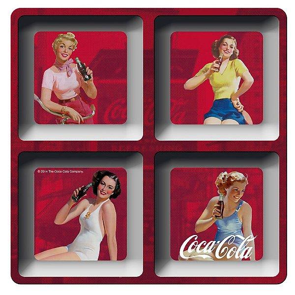 Petisqueira Quadrada de Melamina Coca-Cola Pin Ups - 4 Divisórias
