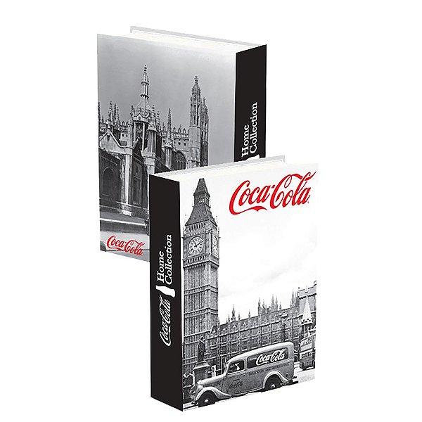Caixa Livro Decorativa de Madeira Coca-Cola Londres - 25 x 17 cm