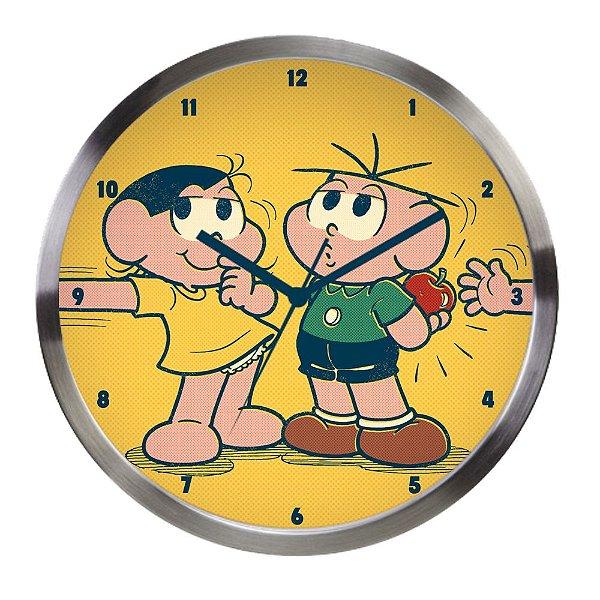 Relógio de Parede Decorativo de Alumínio Turma da Mônica Cebolinha e Magali - 30 cm