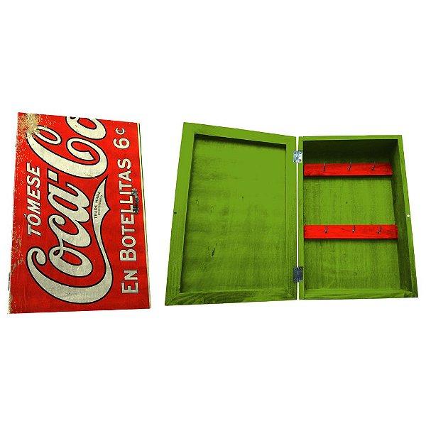 Porta Chaves de Madeira tipo Caixa Coca-Cola En Botellitas - 6 Ganchos