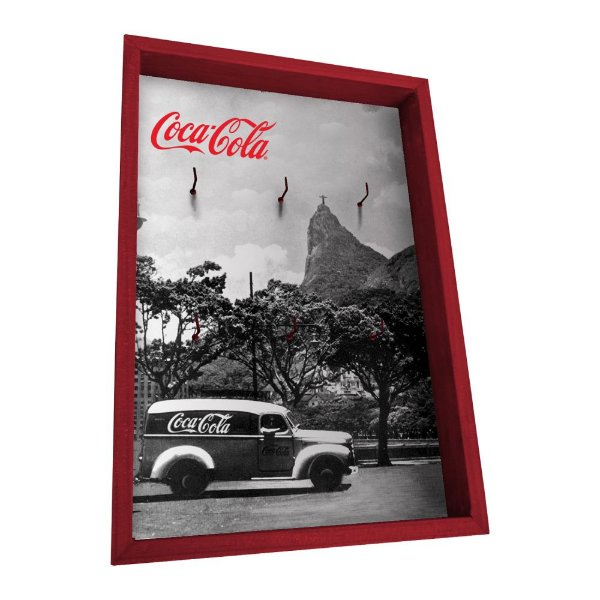 Porta Chaves de Madeira Coca-Cola Rio de Janeiro - 6 Ganchos