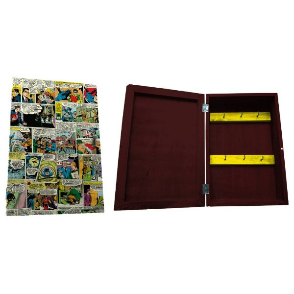 Porta Chaves de Madeira tipo Caixa DC Comics Quadrinhos Coloridos - 6 Ganchos
