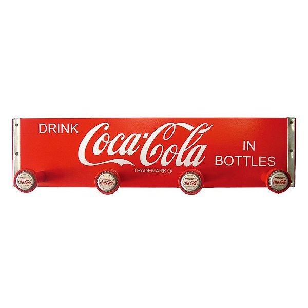 Cabideiro Retangular de Madeira Coca-Cola Drink in Bottles - 4 Ganchos