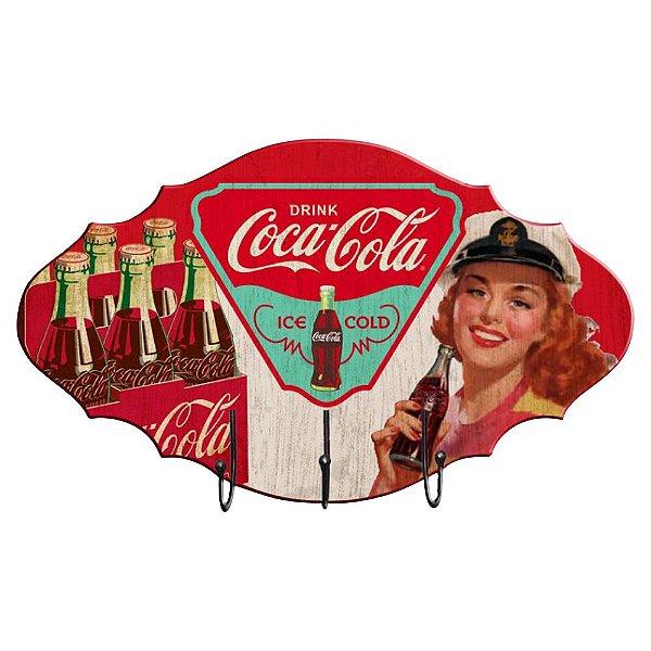 Cabideiro de Madeira Coca-Cola Pin Up Brown Lady Drink - Ice Cold - 3 Ganchos