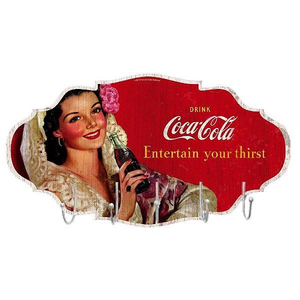 Cabideiro de Madeira Coca-Cola Brunette Lady Entertain your thirst - 5 Ganchos