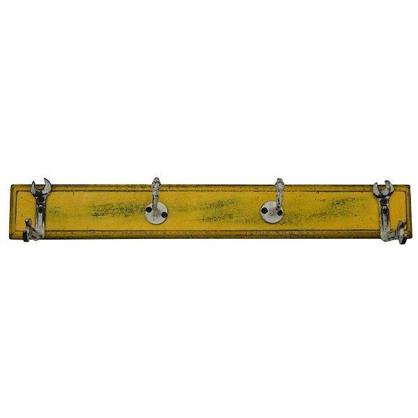 Cabideiro de Madeira e Metal Tools Amarelo / Branco - 4 Ganchos