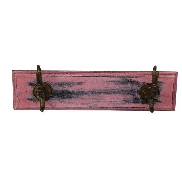 Cabideiro de Madeira e Metal Antler Rosa / Bronze - 2 Ganchos