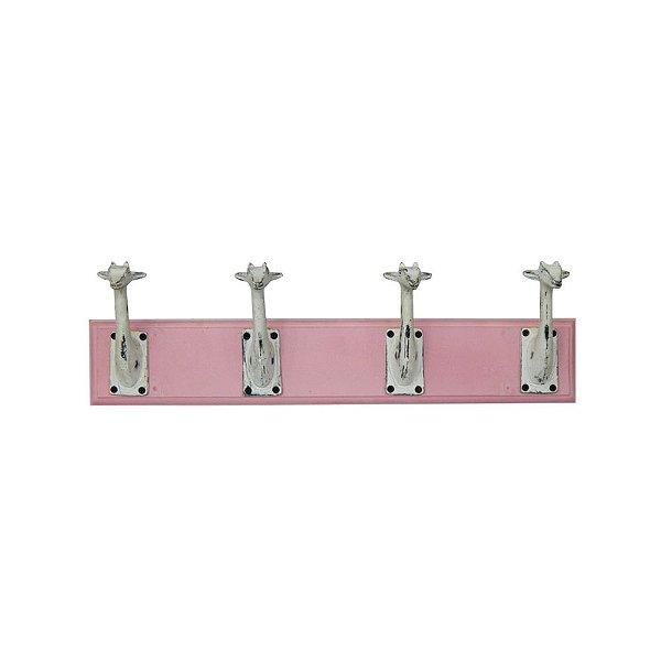 Cabideiro de Madeira e Metal Girafas Rosa / Branco - 4 Ganchos
