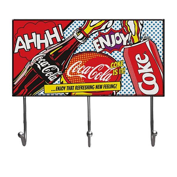 Cabideiro de Vidro e Metal Coca-Cola Pop Up Coke - 3 Ganchos