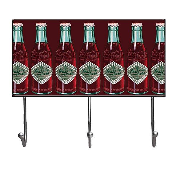 Cabideiro de Vidro e Metal Coca-Cola Bottles - 3 Ganchos