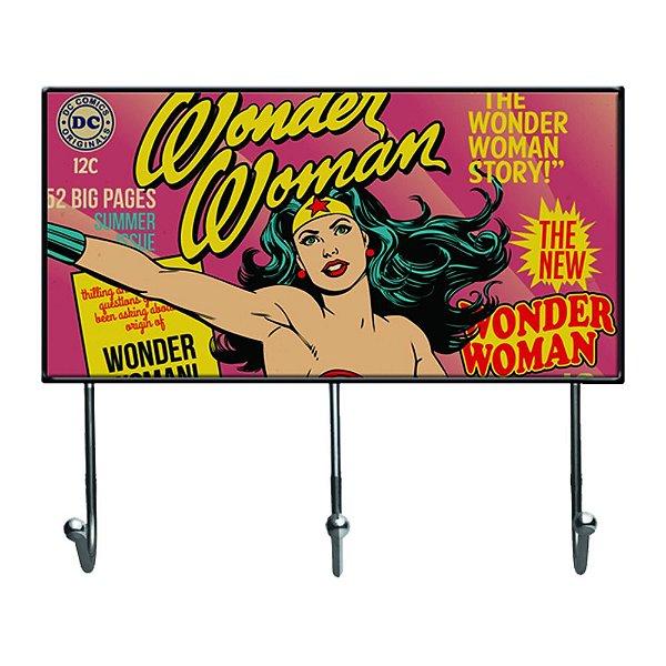 Cabideiro de Vidro e Metal DC Comics Wonder Woman - 3 Ganchos