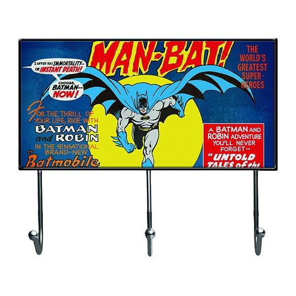 Cabideiro de Vidro e Metal DC Comics Batman - 3 Ganchos