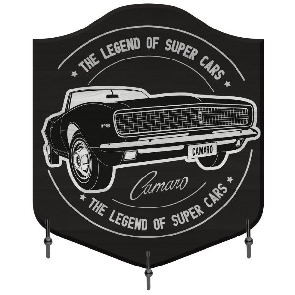 Cabideiro de Madeira e Metal GM Vintage The Legend of Super Cars - Camaro - 3 Ganchos