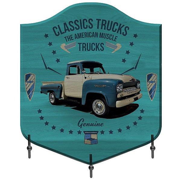 Cabideiro de Madeira e Metal GM Vintage Classics Trucks - The American Muscle - 3 Ganchos
