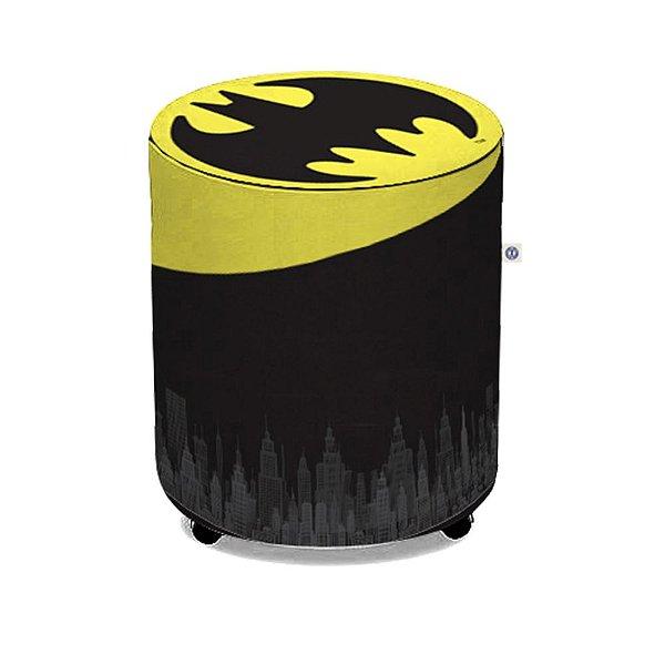 Puff de Tecido Sintético DC Comics Batman Logo Amarelo / Preto - 45 x 35 cm