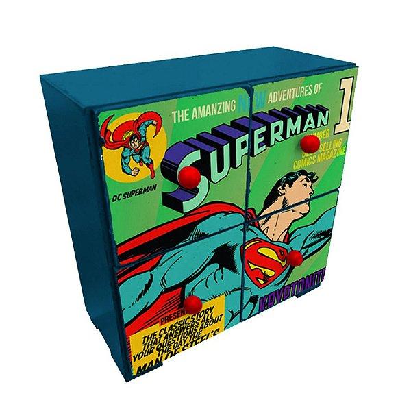 Mini Gaveteiro Decorativo de Madeira DC Comics Superman - 28 x 25 cm