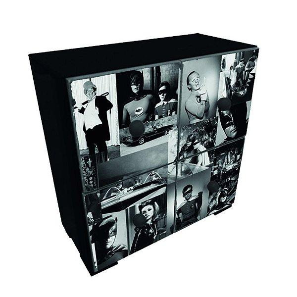 Mini Gaveteiro Decorativo de Madeira DC Comics Batman and Robin Movie Scenes - 26 x 25 cm