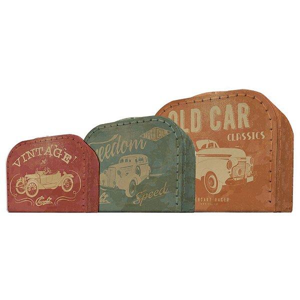 Conjunto de Maletas de Papelão GM Vintage Cars and Colors - 3 Peças