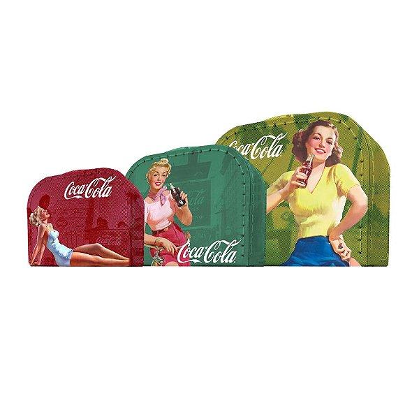 Conjunto de Maletas de Papelão Coca-Cola Pin Ups Coloridas - 3 Peças