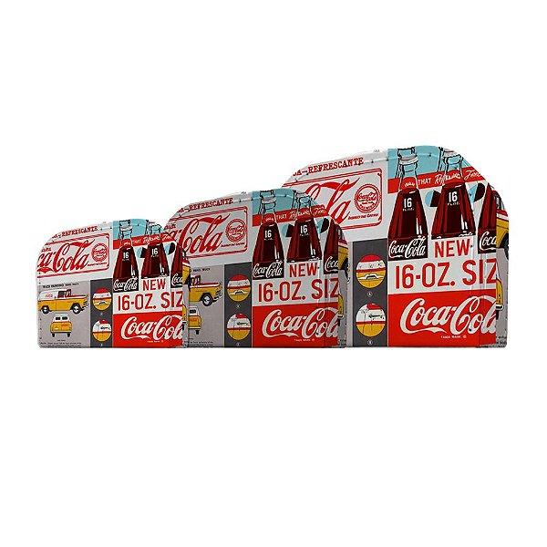 Conjunto de Maletas de Papelão Coca-Cola Bottles and Yellow Cars - 3 Peças