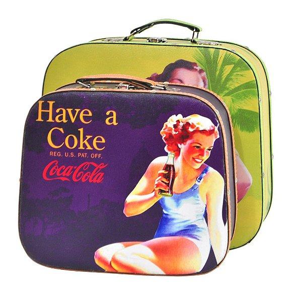 Conjunto de Maletas de MDF e Lona Coca-Cola Pin Ups Coloridas - 2 Peças