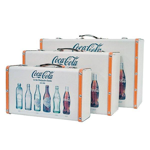 Conjunto de Maletas de MDF e Lona Coca-Cola Bottle Evolution - 3 Peças