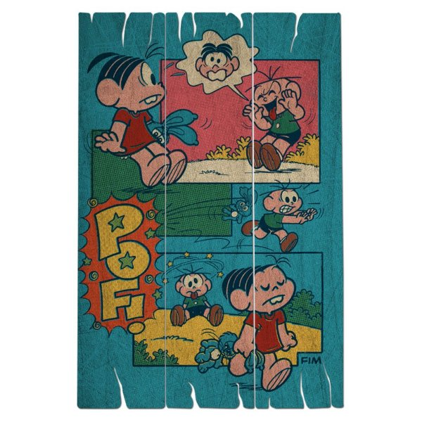Placa Retangular Decorativa de Madeira Turma da Mônica Cebolinha Apanhando - 40 x 30 cm