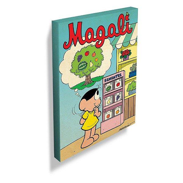 Quadro / Tela Retangular Turma da Mônica Magali e a Máquina de Sementes - 30 x 20 cm