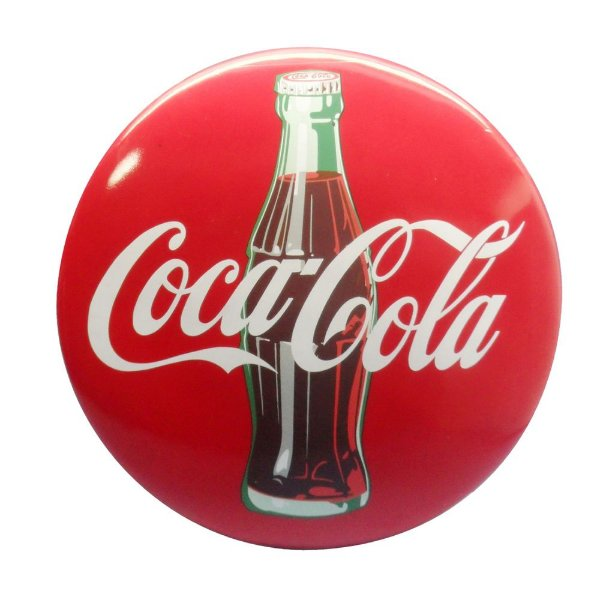 Placa de Resina Coca-Cola Button Logo 3D com Garrafa - 16 cm
